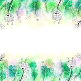 Hand Drawn Floral Border with Colorful Watercolor Background royalty free illustration