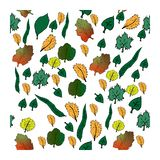 Autumn leaves set stock illustration