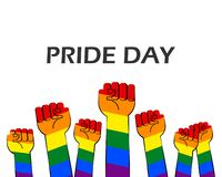 Vector illustration of pride day with striped rainbow hands show fist raised up. On white background vector illustration