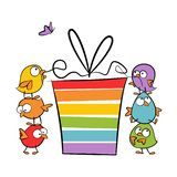Funny birds one on another opening colorful gift - birthday celebration illustration isolated on white background. Funny birds one on another opening colorful stock illustration