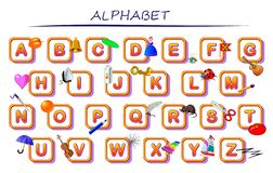 Alphabet set for kids. ABC education in preschool. English letters collection. Printable table for children textbook. Back to school. Vector cartoon image vector illustration