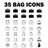 35 Bag Icons stock illustration