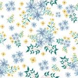 Blue and yellower flower seamless pattern stock image