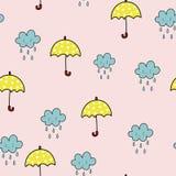 Umbrella and rainy cloud seamless pattern royalty free stock photo