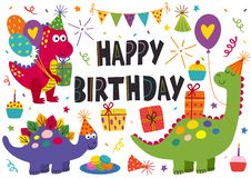 Set of isolated cute dinosaurs for Happy Birthday design