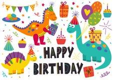 Set of isolated cute dinosaurs Happy Birthday