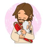 A lovely vector cartoon of Jesus holding a sheep to his chest with love.