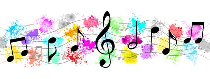 Black Music Notes in Colorful Spatters and Splashes Banner Background