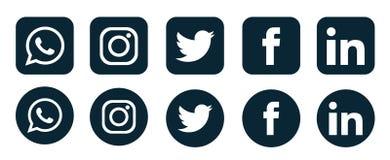 Set of popular social media logos icons Instagram Facebook Twitter Youtube WhatsApp pinterest linkedin element vector
