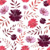 Art floral vector seamless pattern. Summer, autumn garden flowers isolated on white background.
