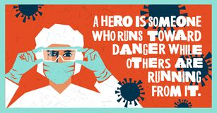 Medical worker wearing PPE, Inspiring design depicting hospital staff as heroes.