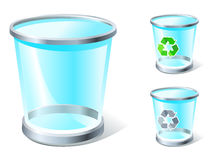 Basic RGB. Realistic trash icon with and without recycle sign Royalty Free Stock Photo