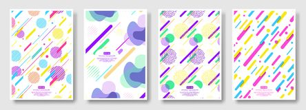 Abstract covers with seamless background available in swatches panel. Set of memphis seamless patterns. Fashion 80-90s. Collection of colorful textures with vector illustration
