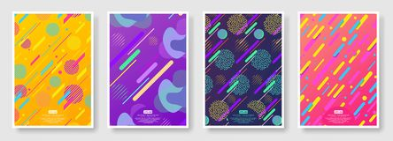Abstract covers with seamless background available in swatches panel. Set of memphis seamless patterns. Fashion 80-90s. Collection of colorful textures with royalty free illustration