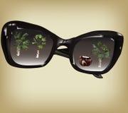 Basic RGB. Black sunglasses with palm trees reflection Stock Photography
