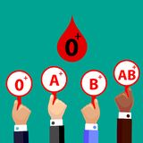 Blood Compatibility Donation. Blood 0 positive. Flat Design Vector Illustration stock illustration