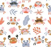 Bright baby fabric design with crabs and sea plants. Sea repeated print for kids design. Vector seamless pattern stock images