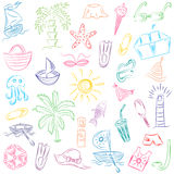 Colorful Hand Drawings of Summer Vacancies Symbols. Doodle Boats, Ice cream, Palms, Hat, Umbrella, Jellyfish, Cocktail, Sun. Vector Illustration vector illustration