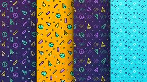 Available in swatches panel. Set of memphis seamless patterns. Colorful memphis seamless patterns available in swatches panel. Set of memphis seamless patterns royalty free illustration