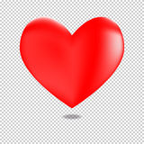3D red heart for valentines day. Floating in a transparency background Stock Image