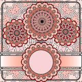 Basic RGB. Drawing of a frame with red mandalas in indian style Stock Photography