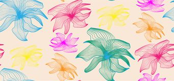 Colorful fantasy flowers pattern. Bright colors. royalty free illustration