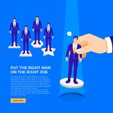 Basic RGB. Flat design concept put the right man on the right job. Leader choose good staff have ability for that work. Vector illustration Royalty Free Stock Images