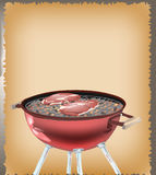 Basic RGB. Grill with beefsteak on the menu board Stock Photos