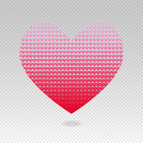 Halftone heart of hearts vector backdrop with transparent background Royalty Free Stock Images