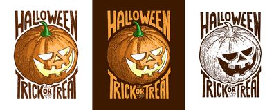 Basic RGB. Halloween set of vintage retro emblem with inscription - treak or treat stock illustration