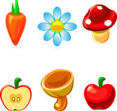 Basic RGB. Icons objects summer cartoon carrot, apple, mushroom, flower, camomile Royalty Free Stock Images