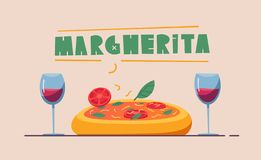 Basic RGB. Italian cuisine. Delicious pizza. Cartoon vector illustration. Great dinner. For web and print. Fresh meal. Cook Margherita in restaurant stock illustration