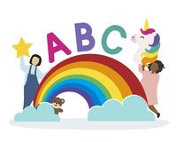 Kids with the ABC letters vector illustration
