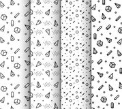 Memphis seamless patterns, available in swatches panel. Set of memphis seamless patterns. Fashion 80-90s. Collection of Black and white textures memphis vector illustration