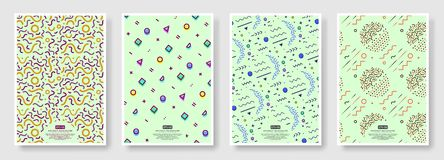 Memphis seamless patterns available in swatches panel. Set of memphis seamless patterns. Fashion 80-90s. Collection of colorful textures memphis seamless stock illustration