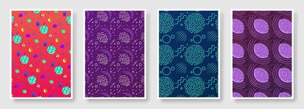 Memphis seamless patterns available in swatches panel. Set of memphis seamless patterns. Fashion 80-90s. Collection of colorful textures memphis seamless royalty free illustration