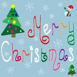 Merry Christmas. Colorful hand-drawn letters royalty free illustration