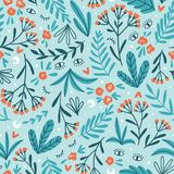Moon herbs. Vector floral seamless pattern. Cute night design for fabric, wallpaper or wrap paper royalty free stock photo