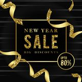 New year sale 80% off sign vector royalty free illustration