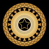 Ornament from circles and patterns on a black background with a gold five-pointed star in the center. royalty free illustration