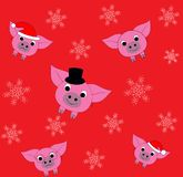 Pattern with piglets and snowflake. Symbol 2019. Vector illustration EPS10. Piggy pattern with snowflake. Symbol 2019. Cute and funny piglets, happy and sad royalty free illustration