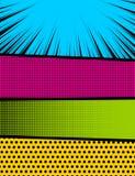 Basic RGB. Pop art comics book magazine cover template. Cartoon funny vintage strip mock up. Vector halftone illustration. Blank rectangle for comic superhero Royalty Free Stock Image