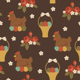 Basic RGB. Seamless Easter pattern. Hen sitting on painted Easter eggs, roses and a basket with Easter eggs. Vintage look Royalty Free Stock Photography