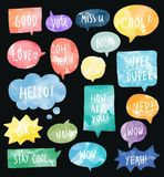 Set of colorful watercolor speech bubbles vector royalty free illustration