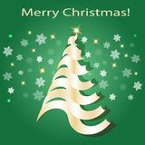 Shining Christmas tree. Green and gold colors. stock illustration