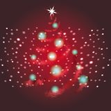 Shining Christmas tree red vector background. stock illustration