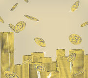 Basic RGB. Staked and falling gold money coins Stock Photos