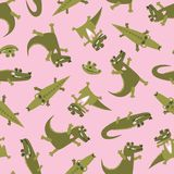 Summer seamless pattern with  cute crocodiles. Zoo repeated background. Vector bright print for baby fabric or wallpaper stock photography