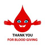 Thank you for blood giving - text. Blood donation abstract concept vector illustration. Isolated on white background stock illustration