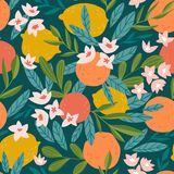 Tropical fruit seamless pattern. Citrus tree in hand drawn style. Vector fabric design with oranges, lemons and flowers. Tropical summer fruit seamless pattern vector illustration